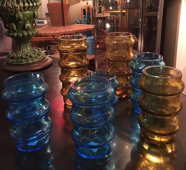 Jarrones cristal turquesas y ámbar