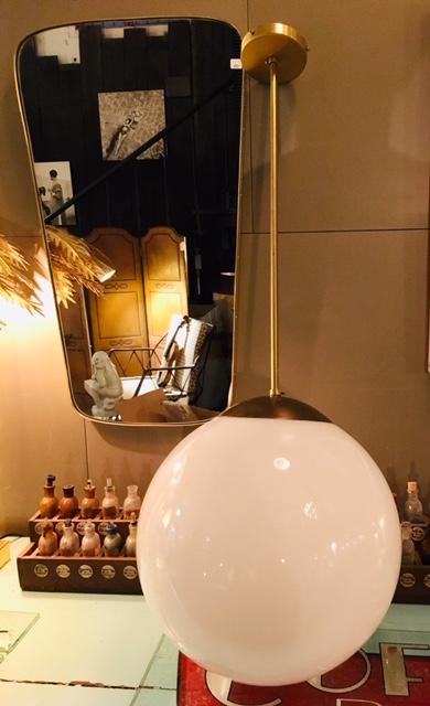Lámpara colgante bola 40 cm cristal opal