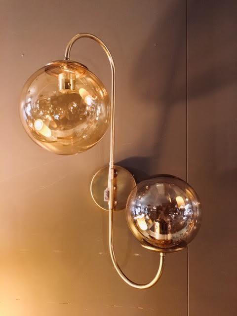 Aplique pared 2 bolas cristal