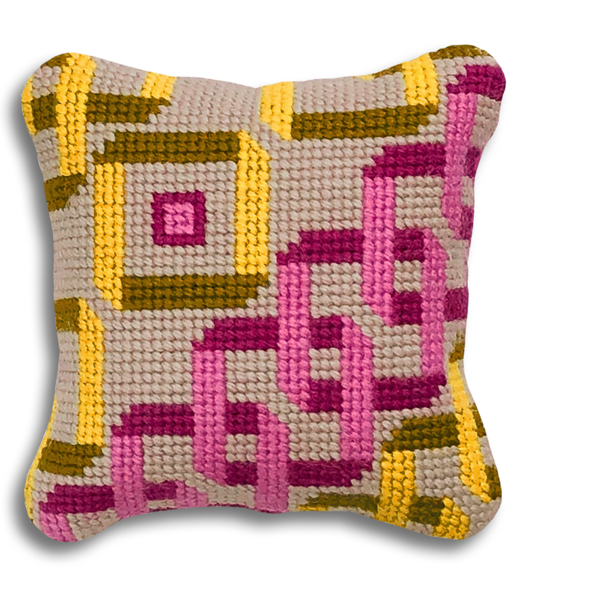 NEW! Interlocking Squares mini kit Pink, yellow and mustard colourway £16  (includes free UK postage)