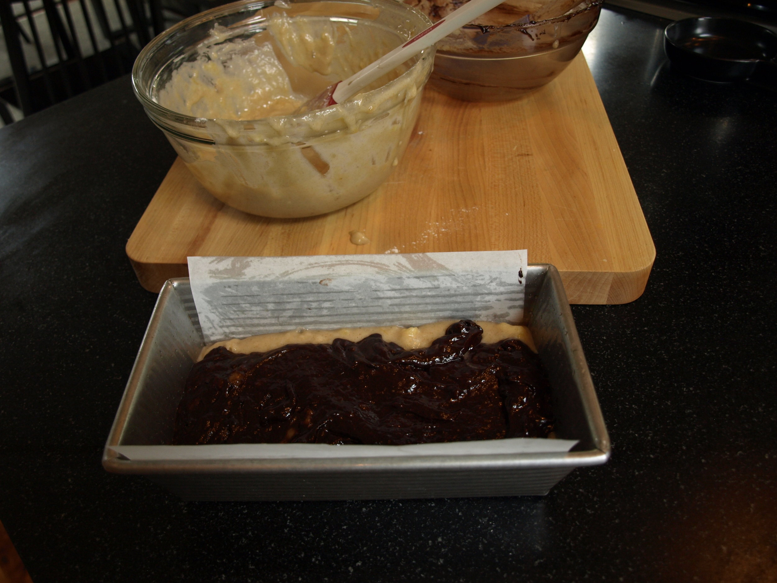 Layer 1/2 banana batter followed by chocolate batter.