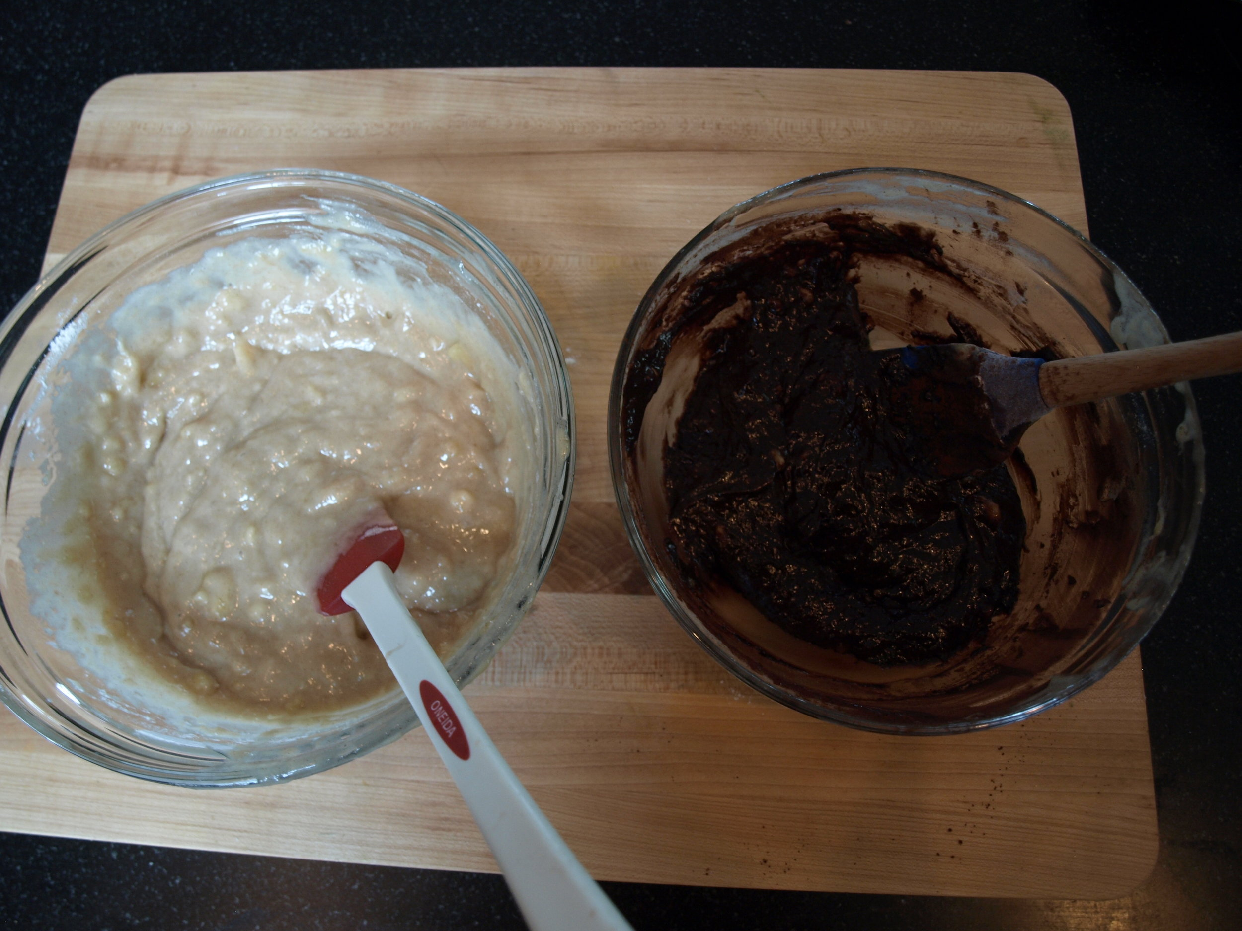 2/3 banana batter and 1/3 chocolate batter.