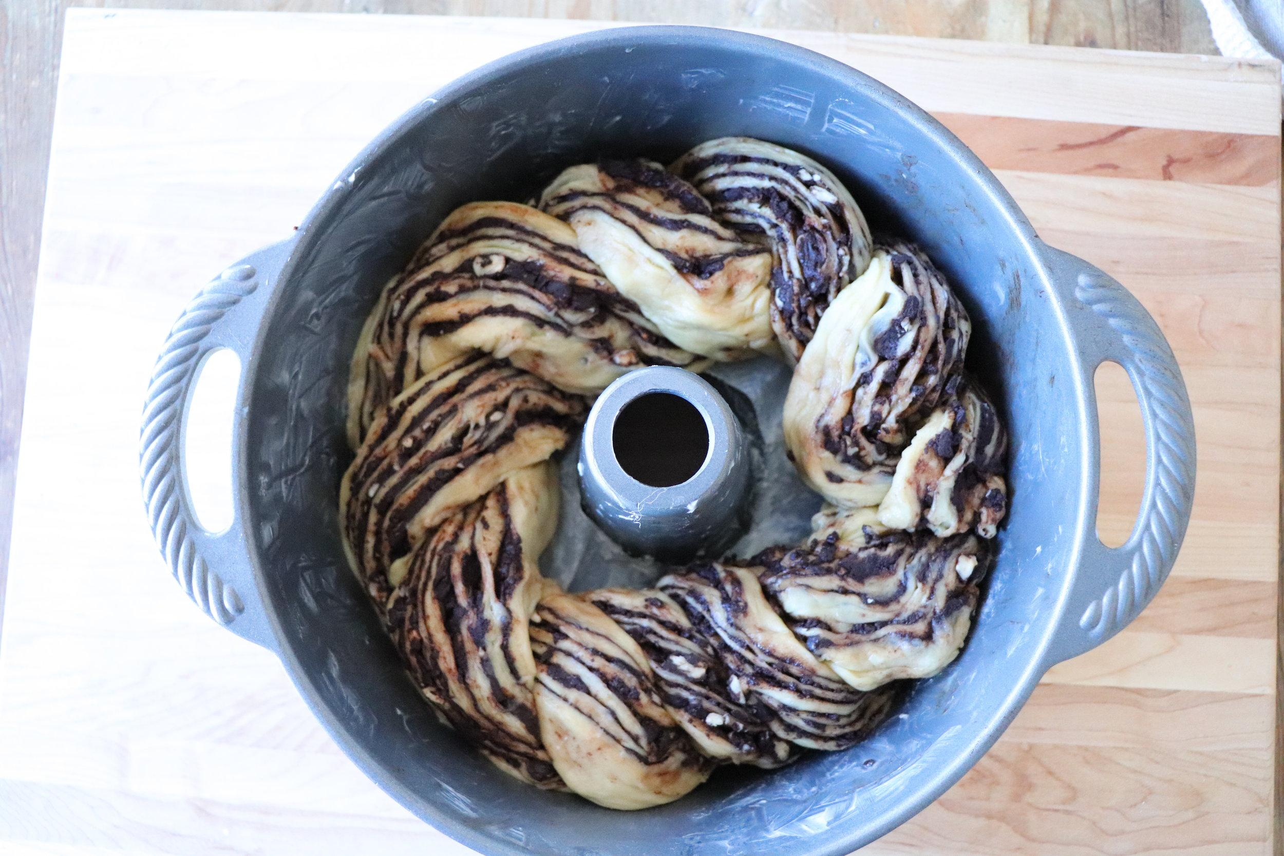 Shape into tube pan.