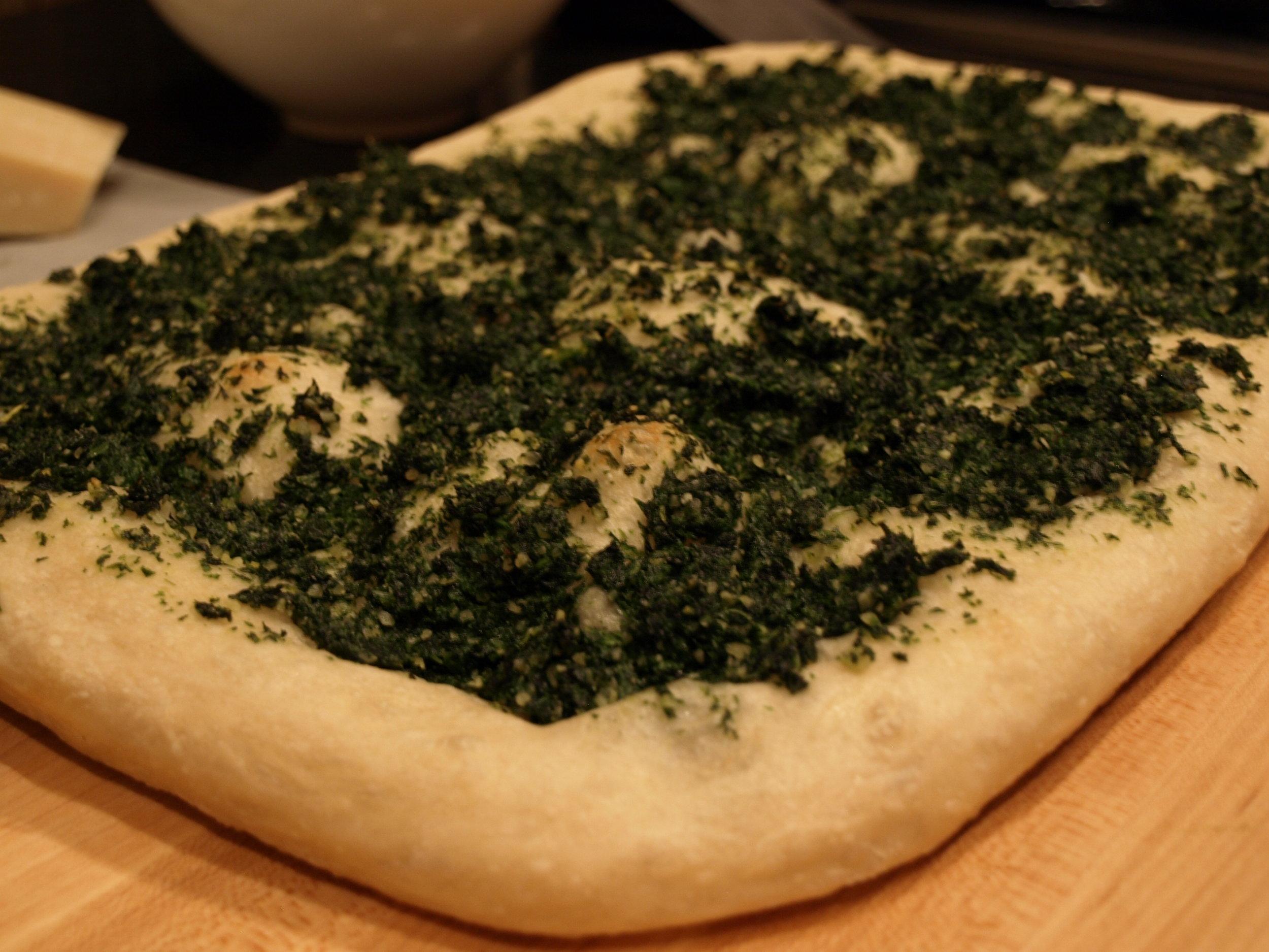 Pizza, Pan - Mustard Green Pesto