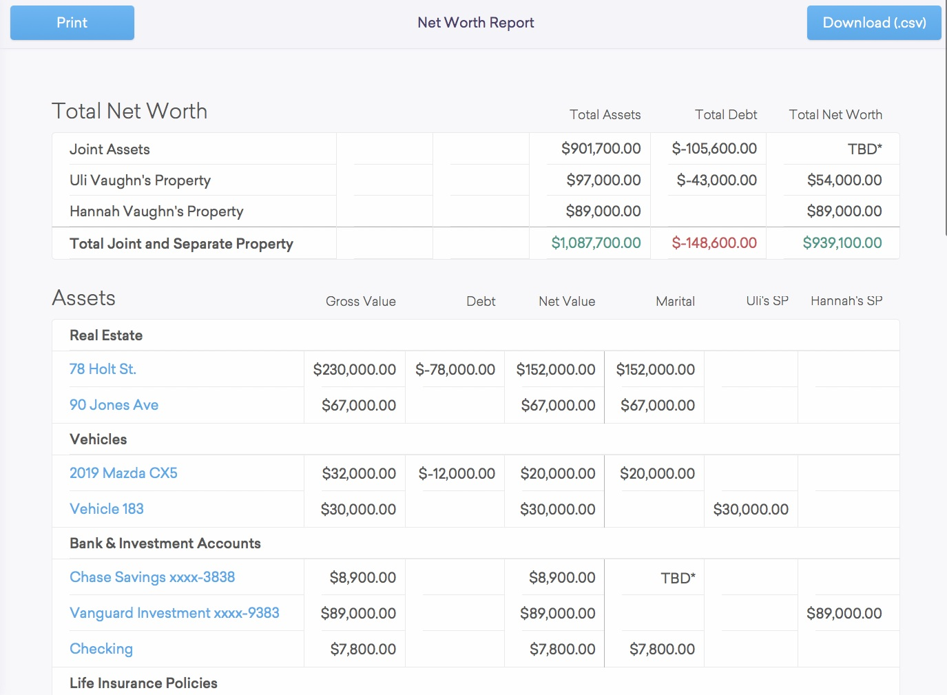 Step 3: Document Assets & Debts to Create a Net Worth Report - Enter basic information about your property and dtour.life will automatically generate your divorce net worth statement. No more building complicated spreadsheets.Share your Net Worth Report with your lawyer with one simple click.