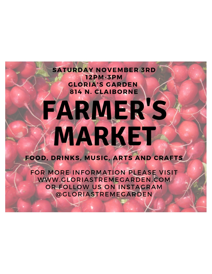 Farmers Market at the Garden! - Saturday, November 3rd 12pm- 3pm join us for our first Saturday Farmer's Market at the garden. We will have local honey, starter garden plants, macrame and more for sale, as well as live mural painting, arts and crafts and delicious fresh local food pop ups! Bring your friends and family!