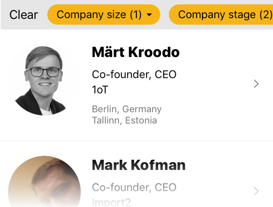 "Search Filters - — yes! You can now use filters like ""Company Stage"" or ""Total Funding"" to find the most relevant founders and reach out to them with your specific questions"