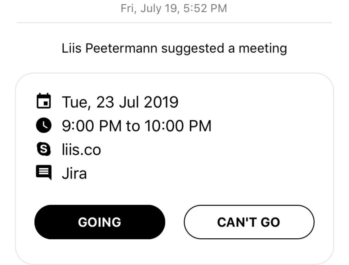 Meeting Reminders - inside conversations – you can now set up the time and place for a meeting and have a reminder for it inside the conversation, plus you'll get a notification one hour before the event