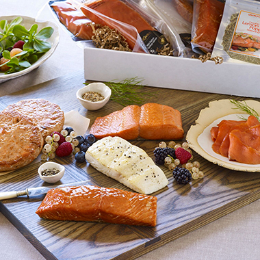 Vital Choice Starter Box    (Featuring six stellar top sellers)   • Wild Alaskan Sockeye Salmon  2 (6-oz) portions  • Wild Alaskan Halibut  2 (6-oz) portions  • Wild Sockeye Salmon Burgers  2 (5-oz) patties   • Smoked Wild King Salmon 1 ( 5-oz) portion   • Wild Alaskan Sockeye Nova Lox 1 ( 4-oz) package  • Organic Lemon-Pepper Seasoning  1 (3.5-oz) pouch