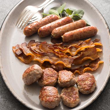 Pastured-Pork Sampler   Paleo bacon, sausage & bratwurst    • Bacon  (12-oz) pack  • Breakfast Sausage  (12-oz) pack  • Bratwurst  (12-oz) pack (4 sausages)