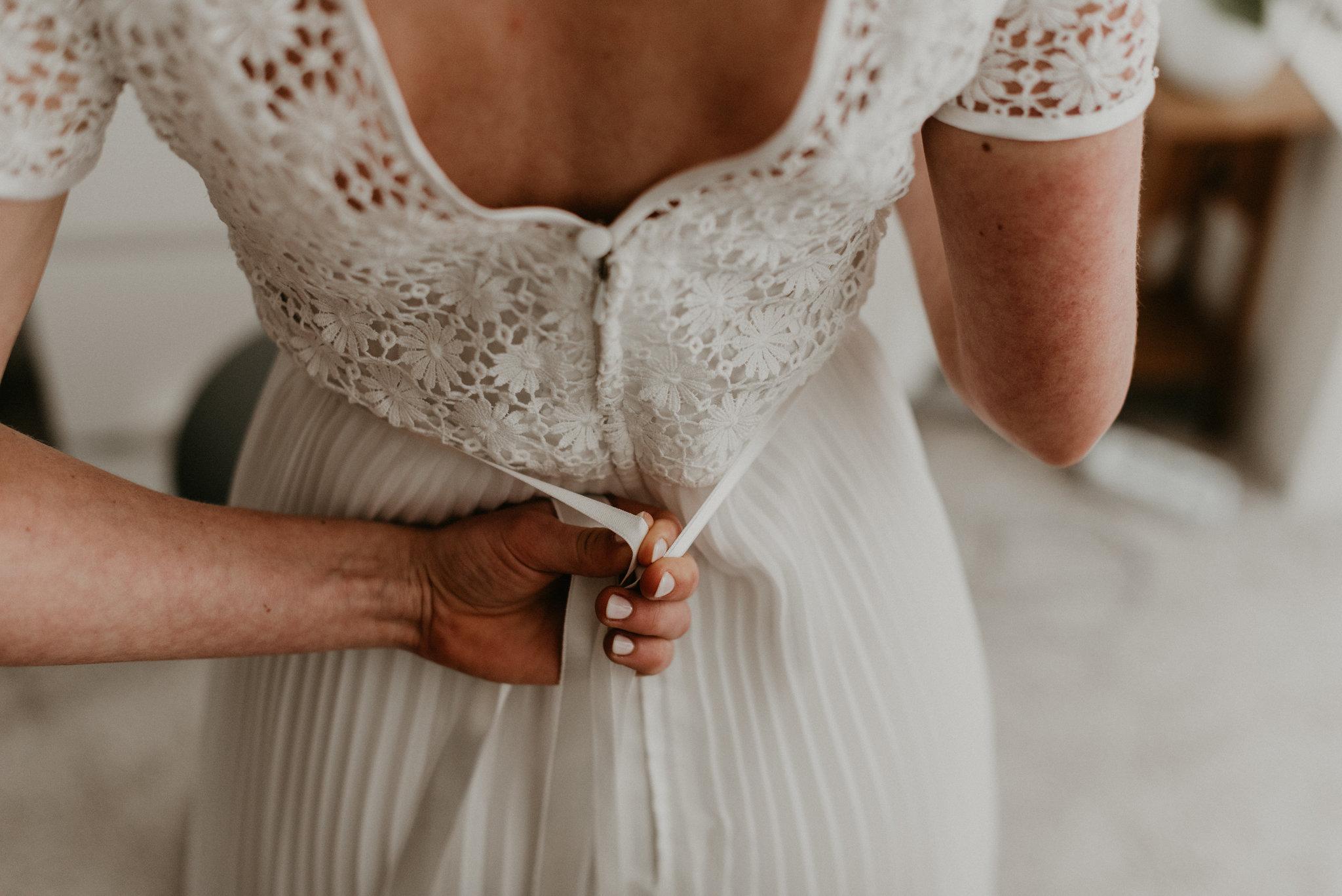 Rotterdam bride getting her final adjustments on her wedding dress