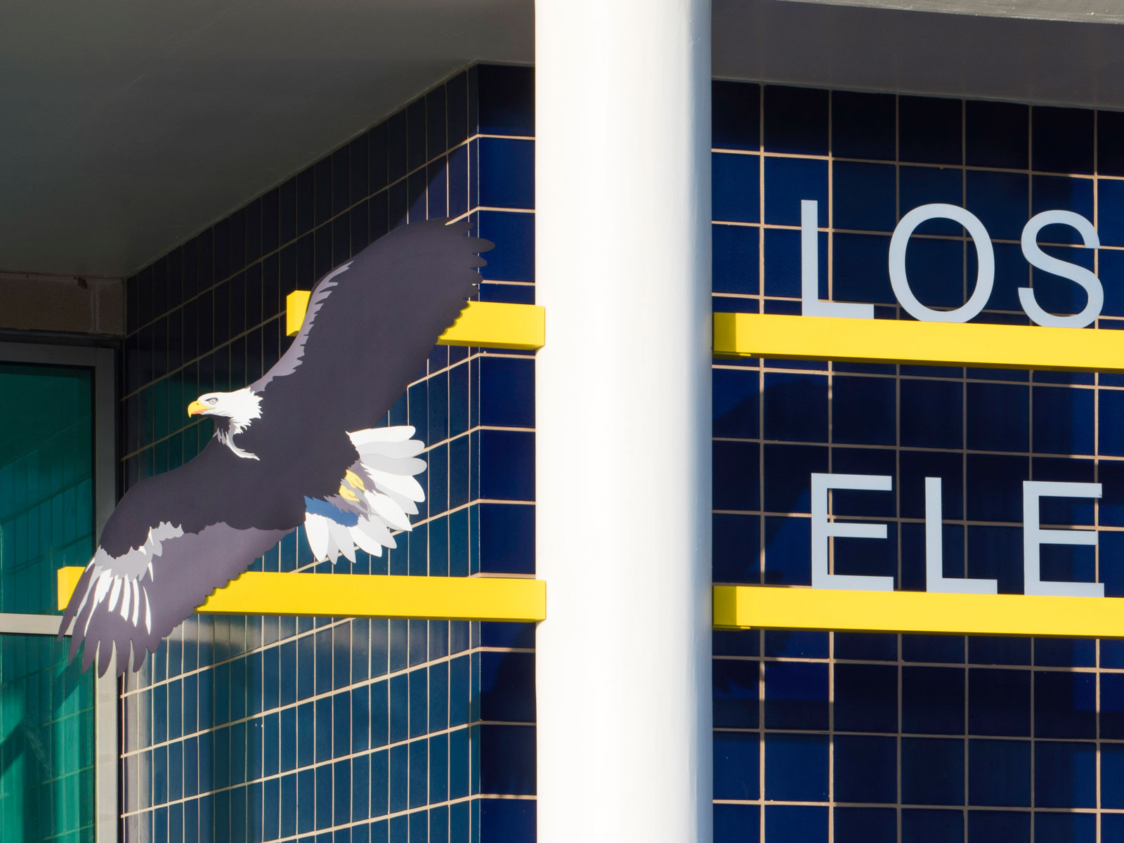 """12"""" High Painted Aluminum Letters, Bar Mounted, 48"""" High Mascot With Digital Printed Graphics"""