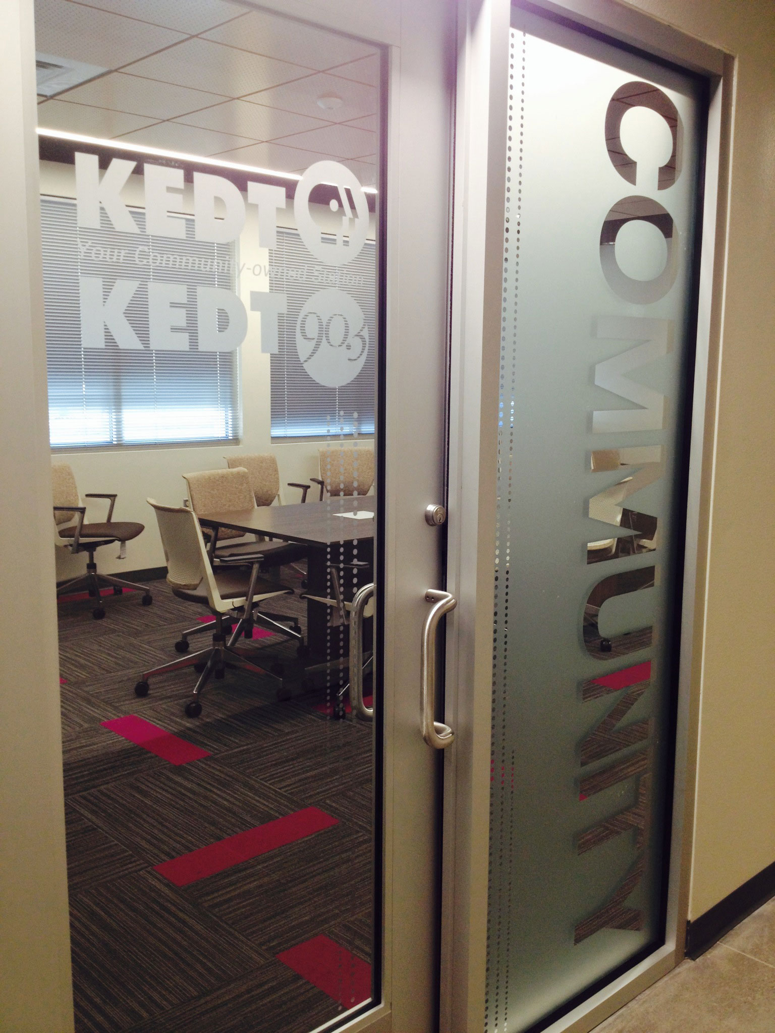 7' High  Frosted Vinyl Door Graphics