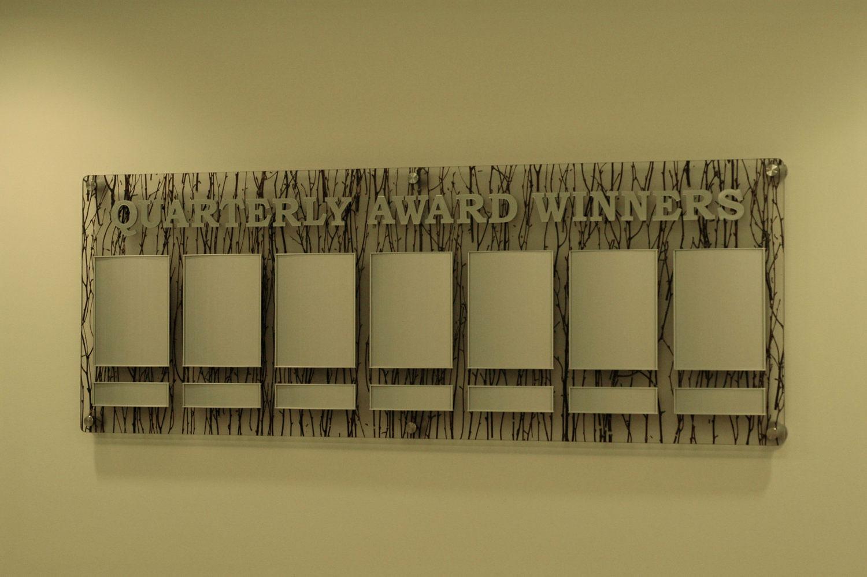 "3-form rising panel backer, 3/8"" Thick Precision Cut Aluminum Lettering, Aluminum Anodized Spinnaker Frames"