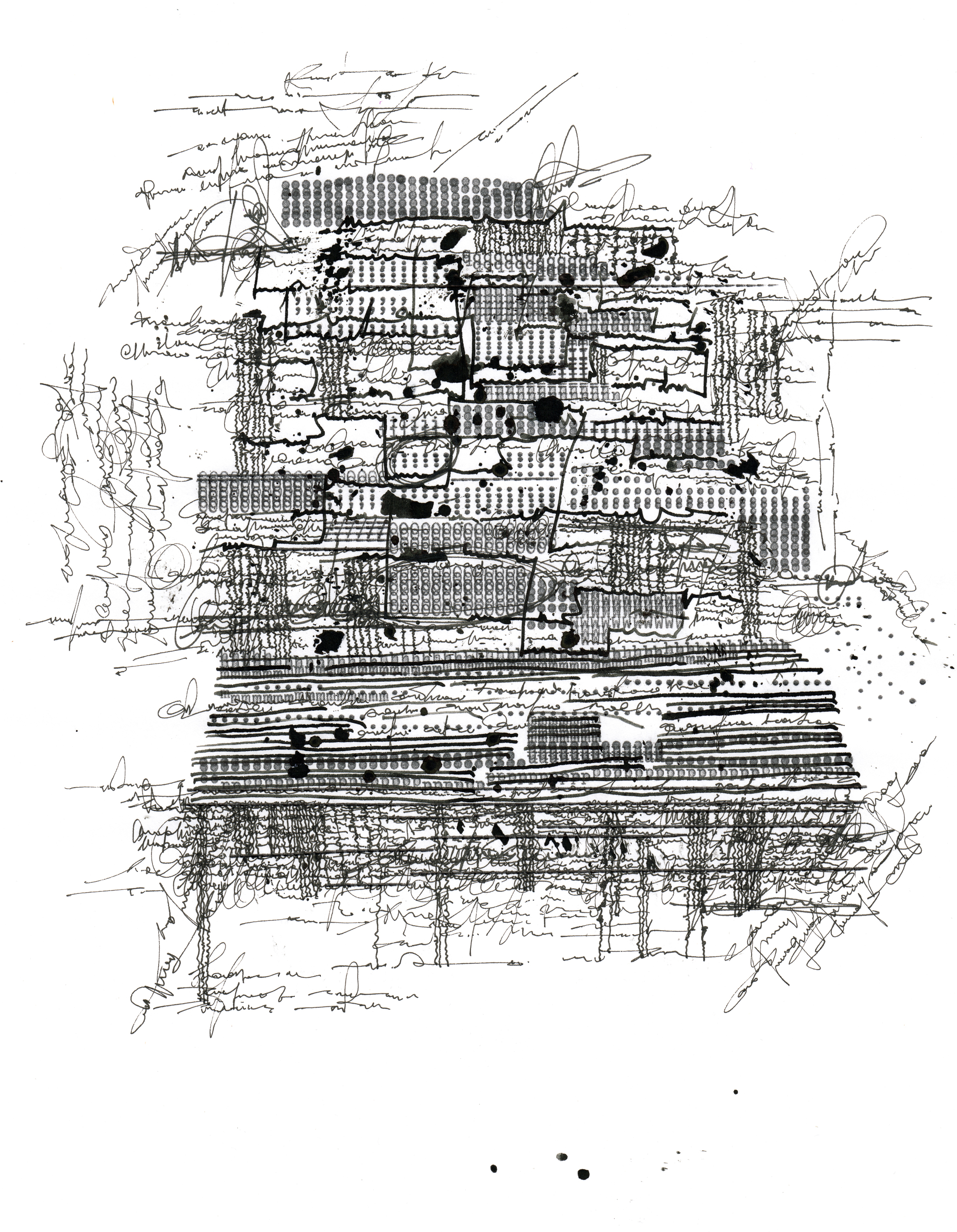 notes on a found texture   paper, ink, typewriter