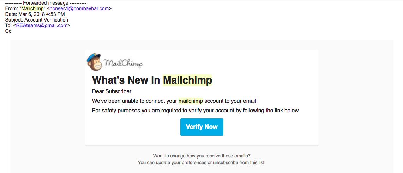 False MailChimp Email