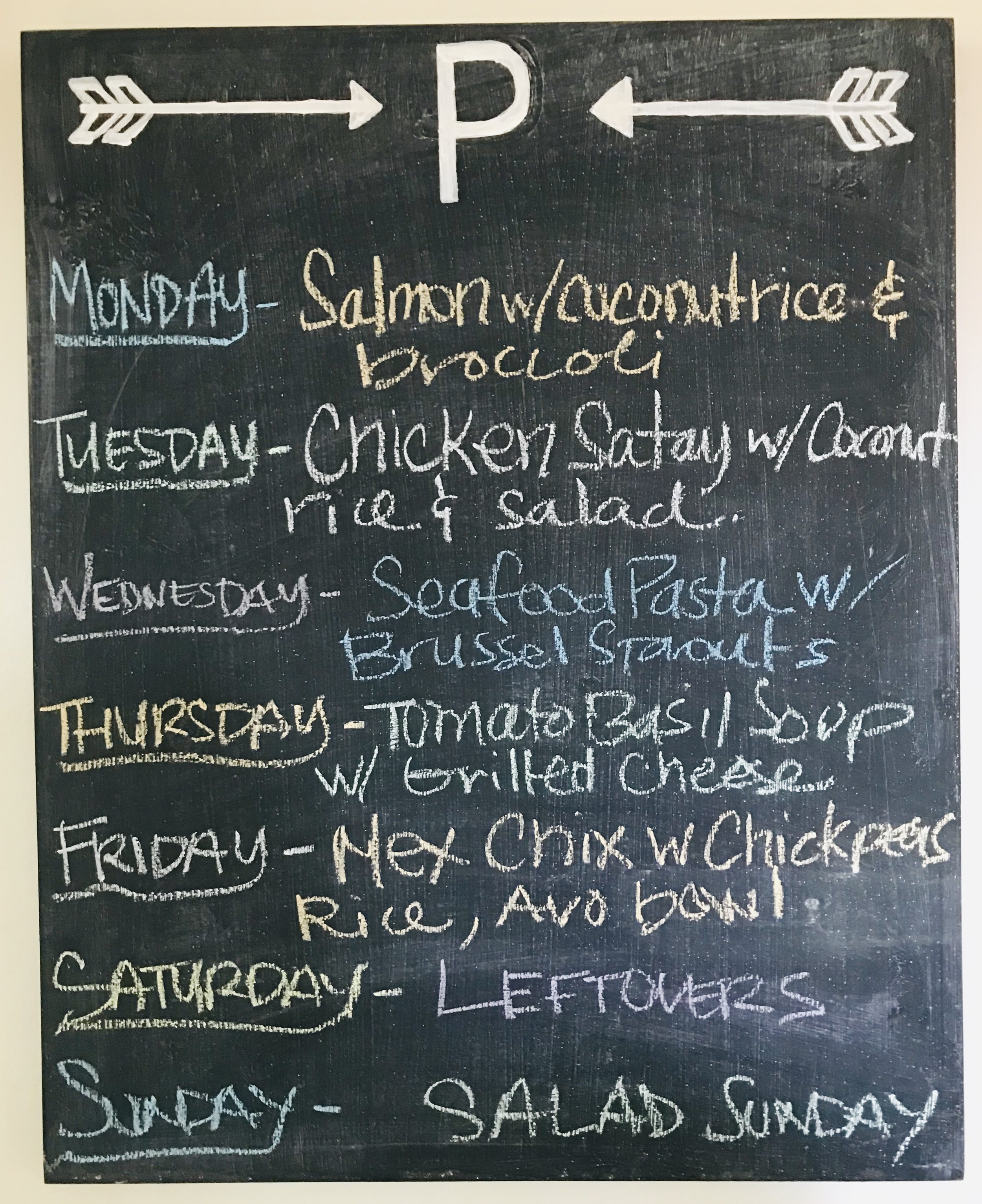 Kitchen Chalkboard w Weekly Menu