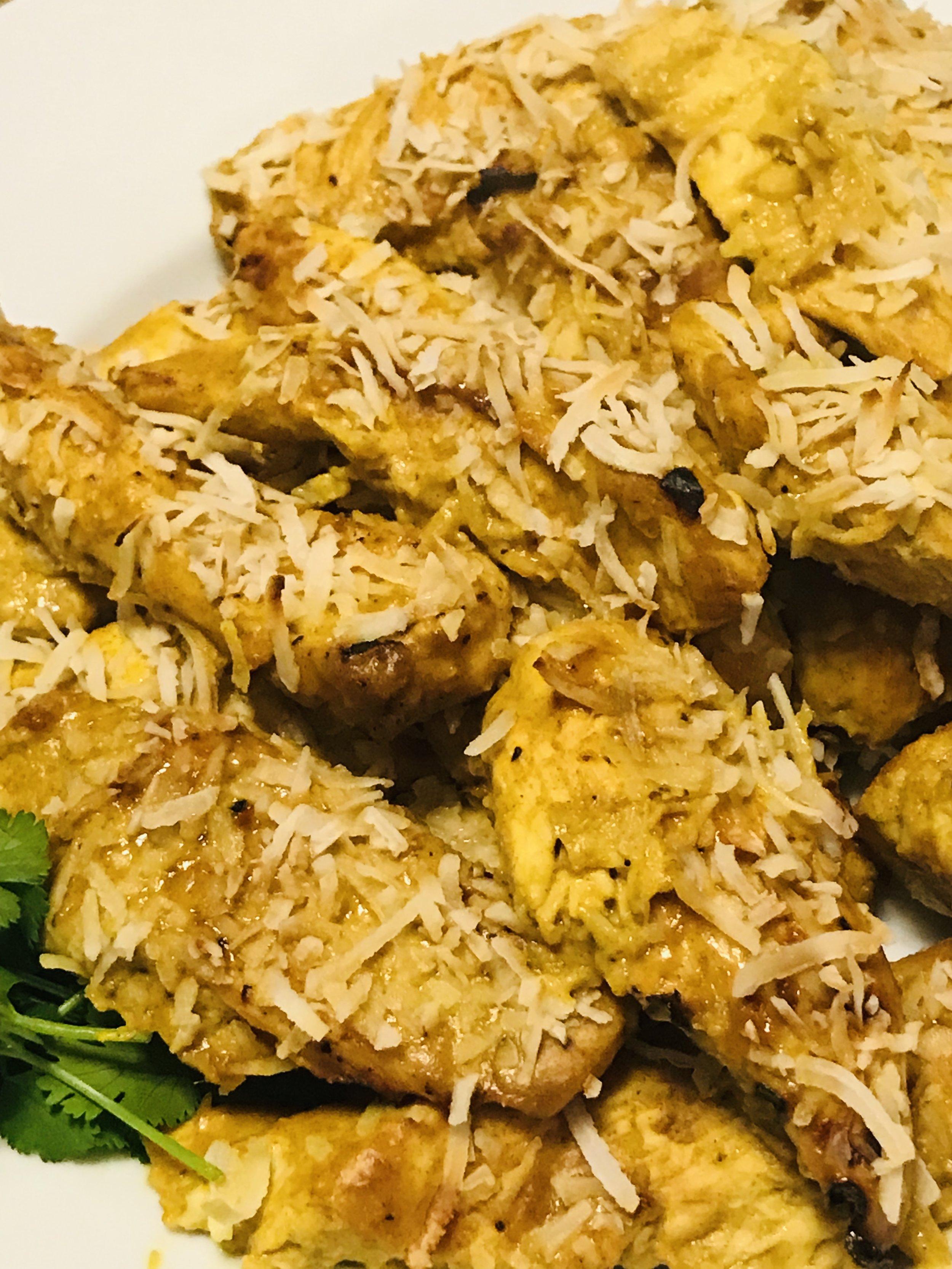 Coconut Chicken Satay with coconut rice