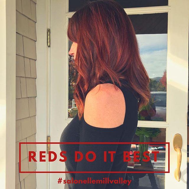 #redsdoitbest #auburnhair #fallcolors #slayingmyred #salonellemillvalley #longlayers #softandsexy #sidebangs#richesse#lorealpro