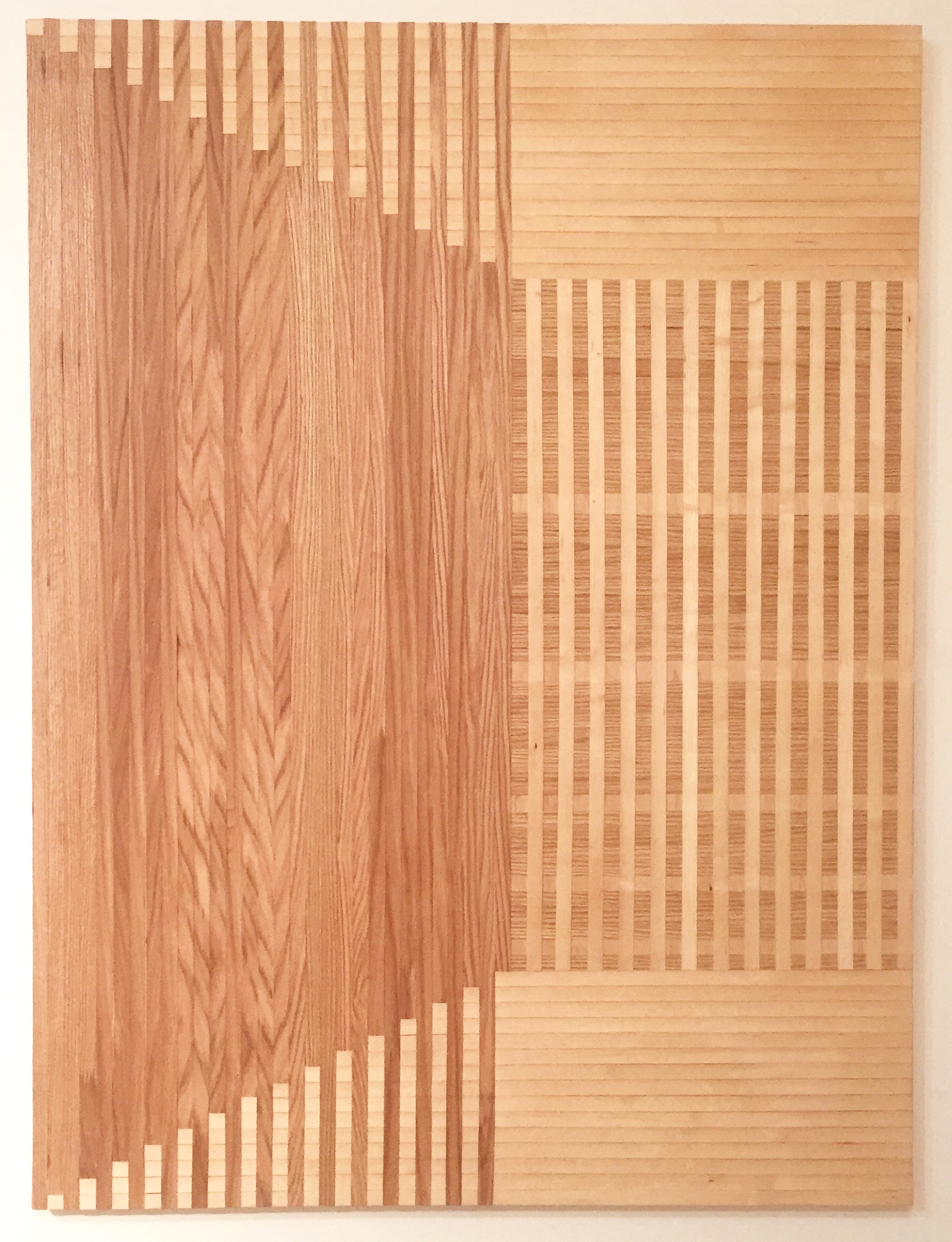 denouement  2015 red oak and birch veneer edge banding on panel  60 x 45 in