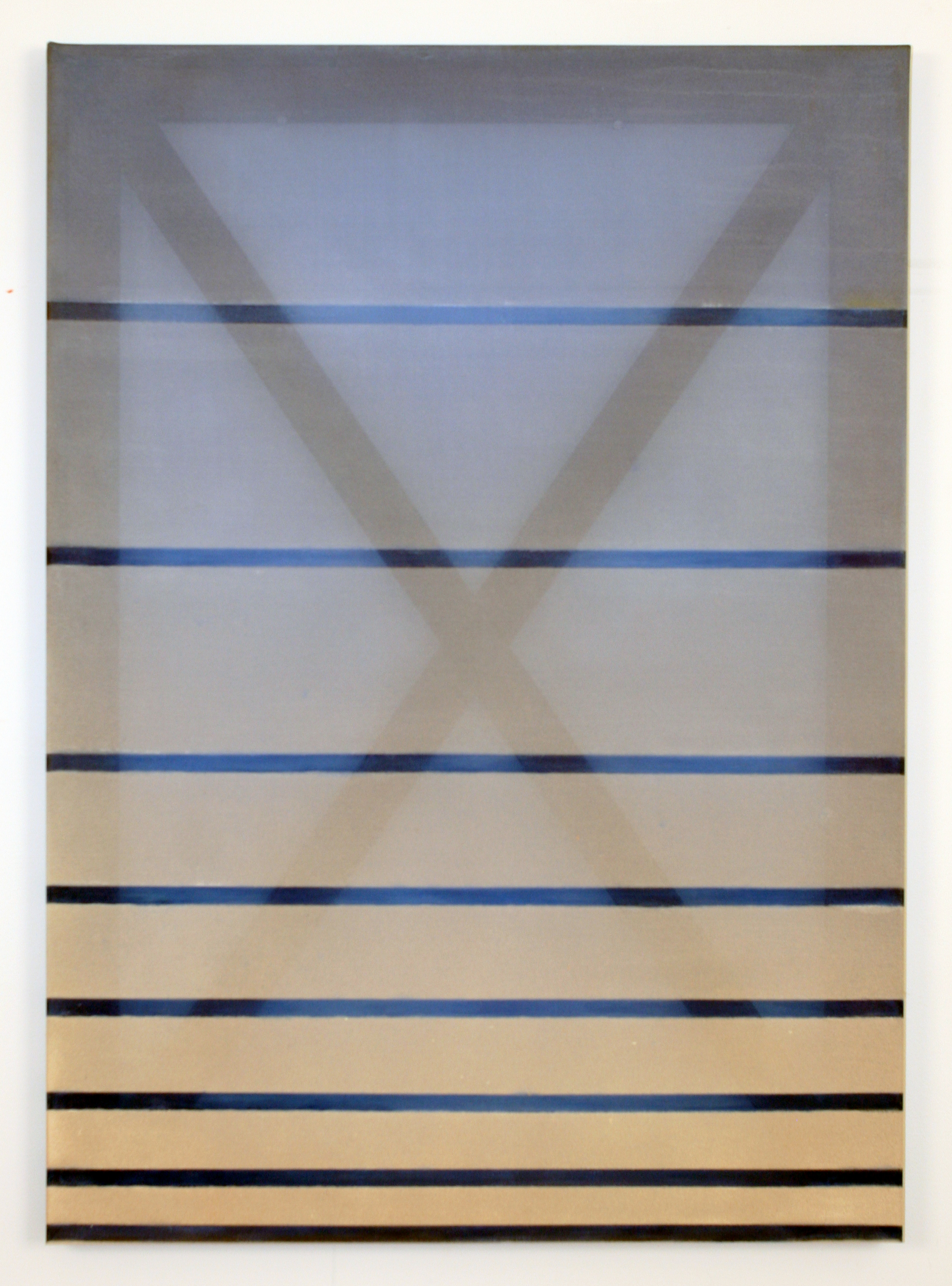 X (blue and tan)  2016 oil, acrylic, and dye on silk 23.5 in x 18 in