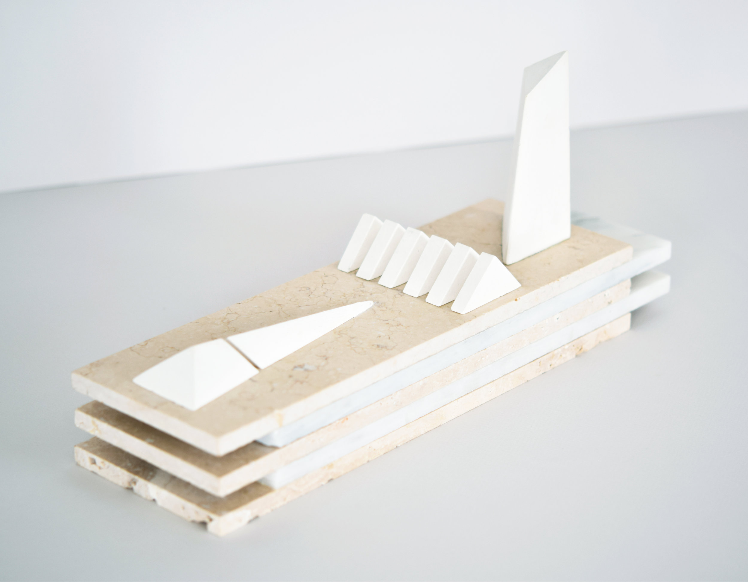 permission structures  2017 travertine, marble, cast plaster 15.5 in x 4 in x 6.5 in