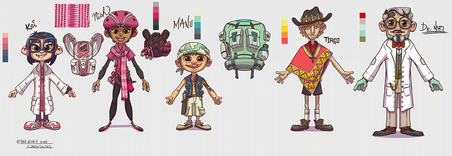 Fungisaurs 2D character designs by Ryan Winch