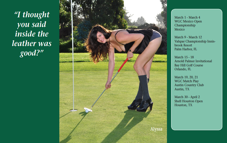 Sample page. Each month includes popular golf tournament dates.