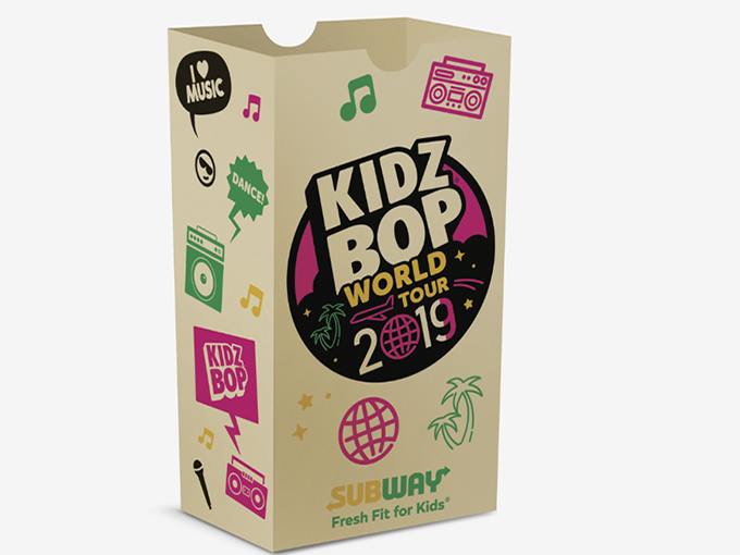 Kidz Bop partnered with Subway to launch a branded meal option, as well as on-site activations during its 2019 world tour.