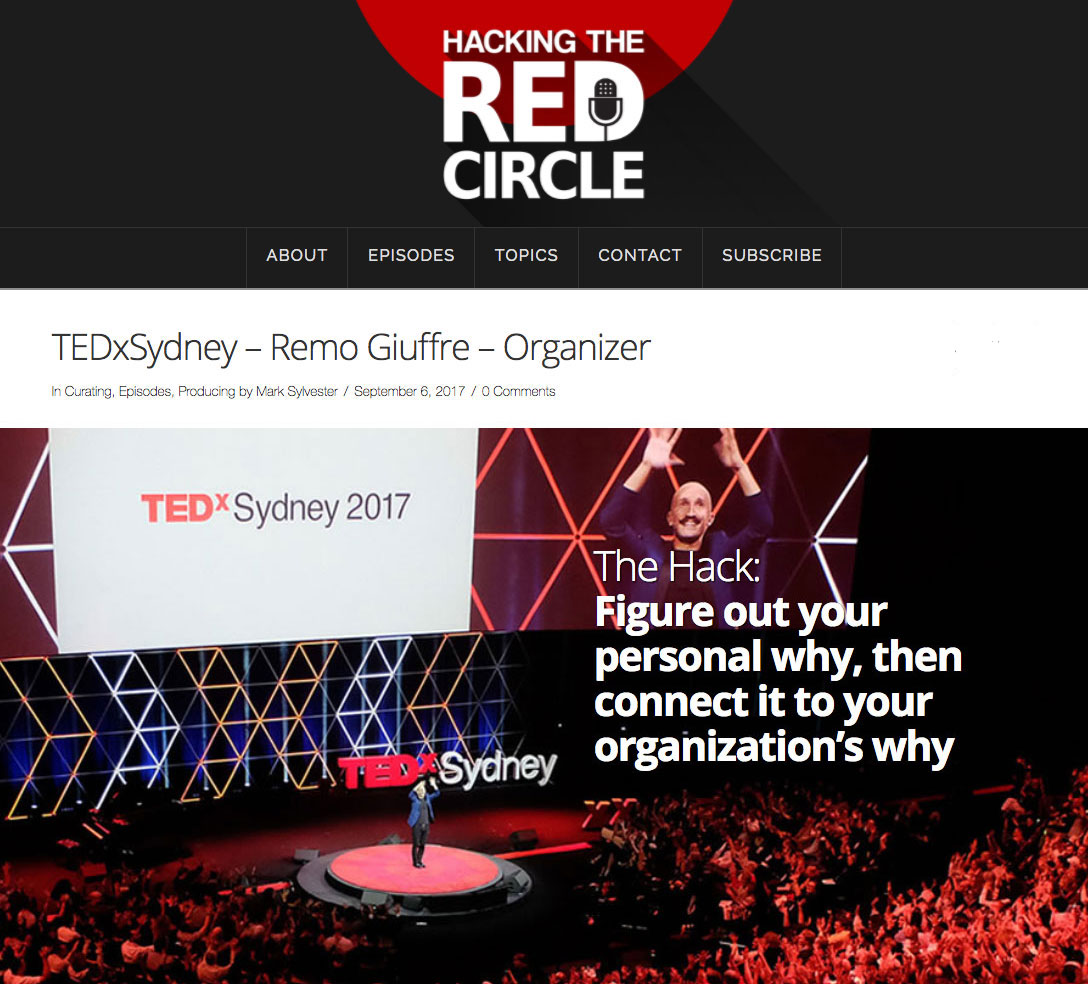 "Gold Standard - ""When I interview TEDx organisers from all over the world and I say: ""OK, if I had a magical red carpet, and I could fly you to any TEDx in the world, where are we going?"" 9 times out of 10 the answer is Sydney. From all over the world, they want to go to TEDxSydney … Everybody looks to that event as the gold standard of what they are trying to do.""Mark Sylvester, Executive ProducerTEDxSantaBarbara &Hacking the Red Circle PodcastRelevant September 2017 Episode HERE"