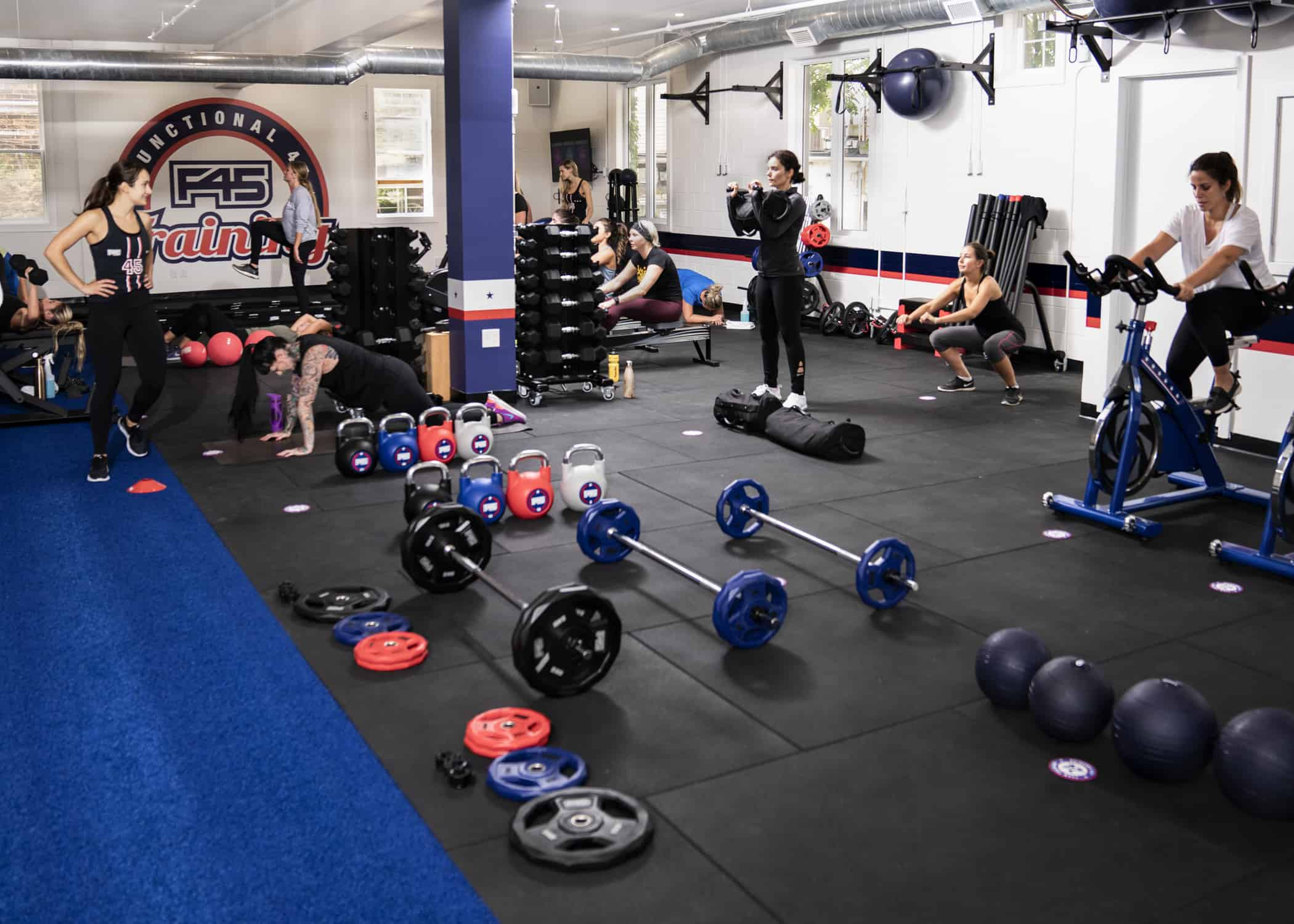 F45 - F45 Hamilton Downtown offers 45-minute, high-intensity, functional, circuit-training workout classes in a boutique studio. F45 is one of the world's fastest-growing workouts, and this is the the city's first location.Malleum moved walls, added a state-of-the-art workout floor, soundproofed, built washrooms with showers featuring floor-to-ceiling mosaic tiles at The Wellington.