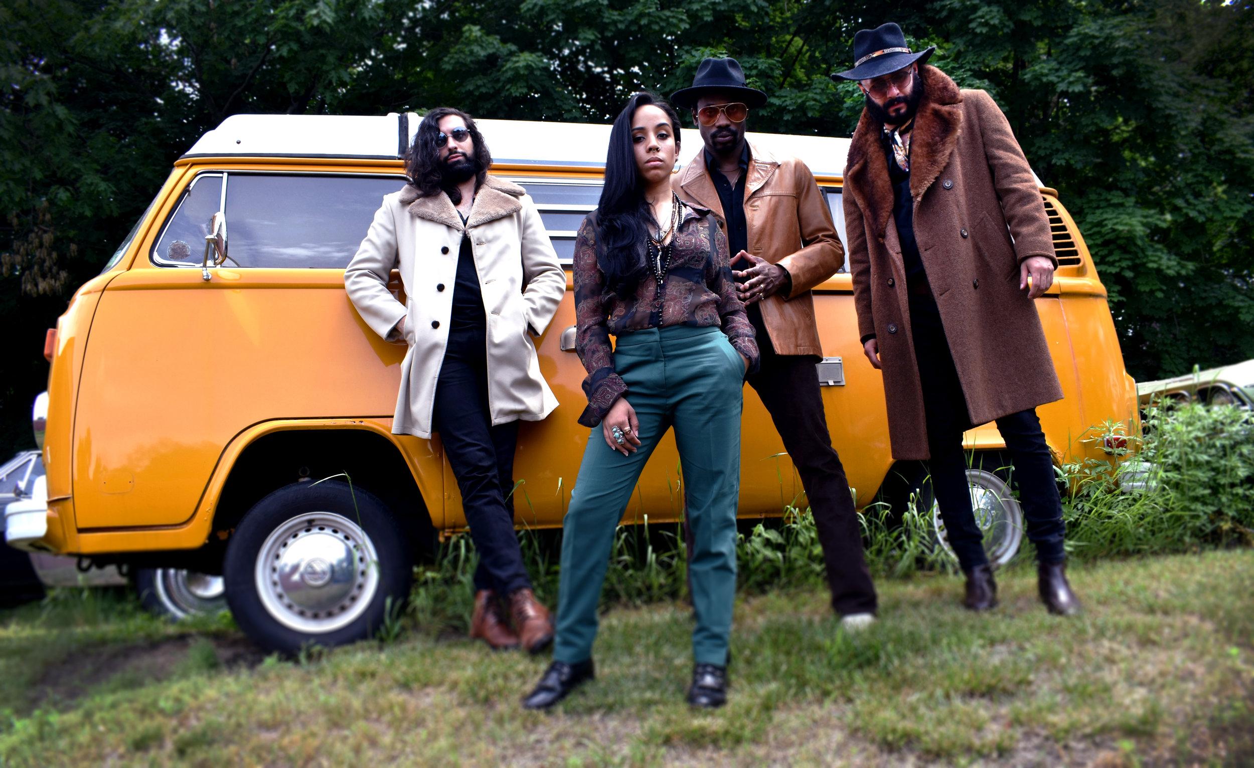 L-R: MATT SALEH ( Bass) , ALYSIA QUINONES ( Vocals ),TOMMY WHITE ( Guitar ),TOM GEHLHAUS ( Drums )