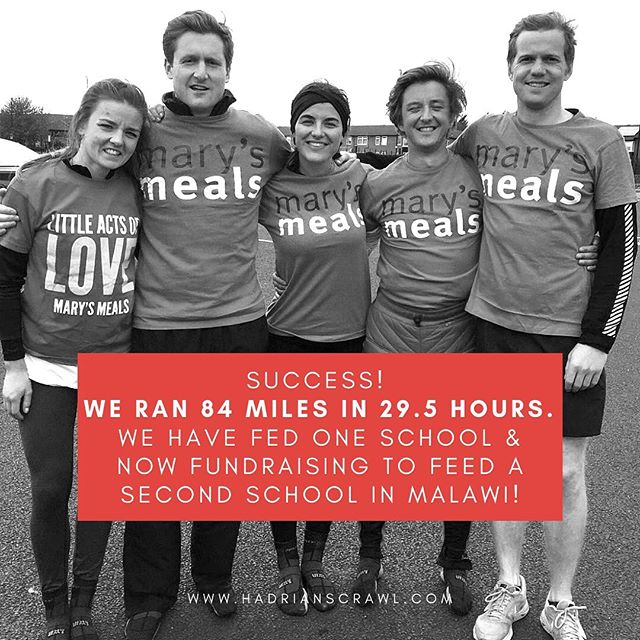 SUCCESS! We ran 84 miles (3.2 marathons) in 29 hours 20 minutes! So many little acts of love from support team, family and friends - thank you. We smashed our initial target of £11,635 to feed Gawamadzi Primary School of 840 children. So now we are fundraising for a second school thanks to all the generous donations coming in since we actually completed it when many people thought we couldn't! New LINK IN BIO for Chete School in Malawi with 766 children. It only costs £13.90 to feed one child for a year. Every penny can help change a life.  Thank you on behalf of all the team for overwhelming support. It's been emotional as well as severely physically challenging! @marysmeals #marysmeals #milesformeals #hadrianswall #ultramarathon #running #london #charity #hadrianscrawl