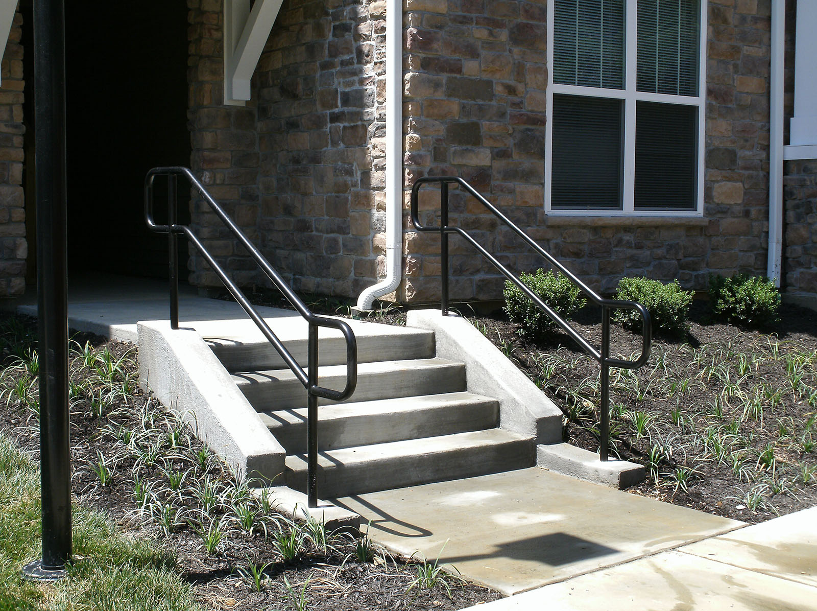 Pipe Rails - Pipe rails are commonly used in commercial applications. They are often made without vertical pickets
