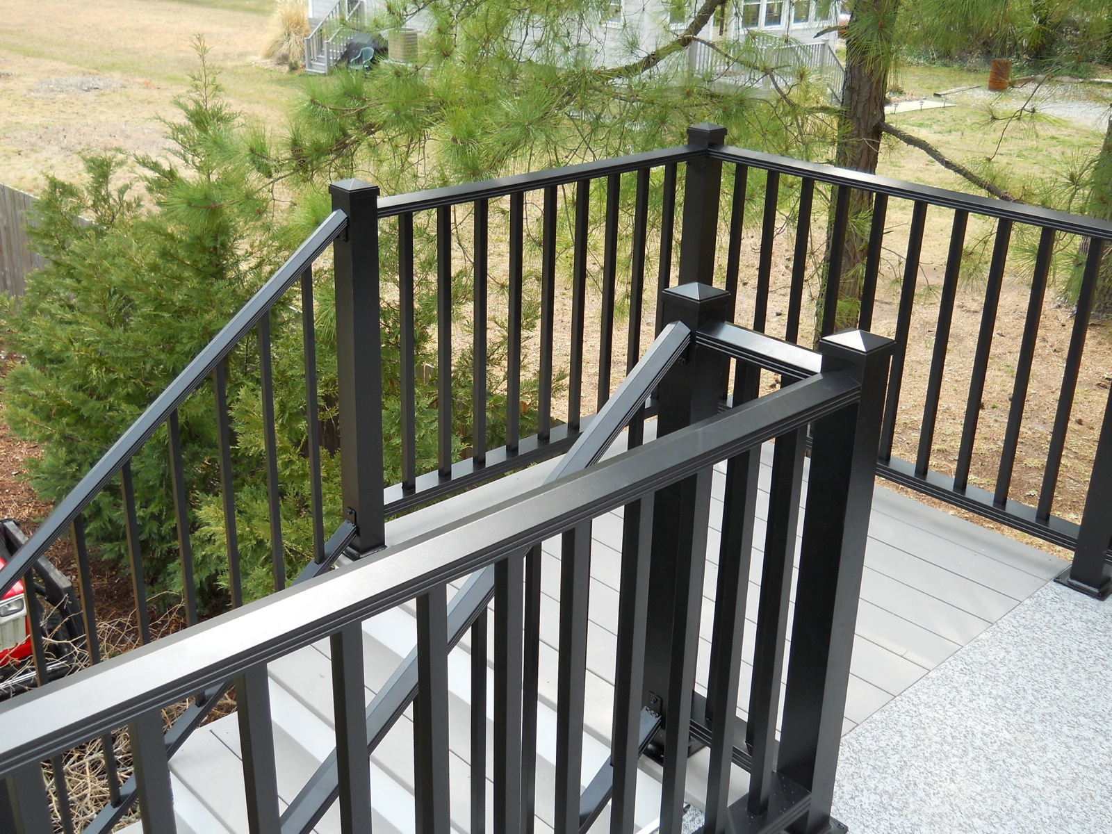 #279 - Large Woodlike level rail with Small Woodlike step rail both using 3 posts with pyramid caps.jpg
