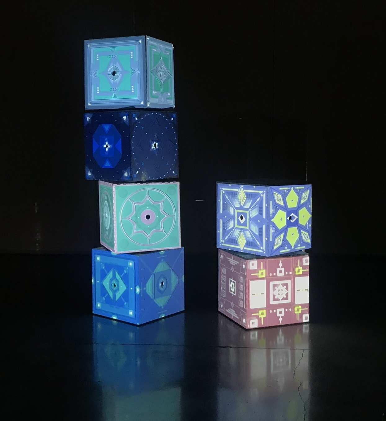 The cubes on stage during the event.