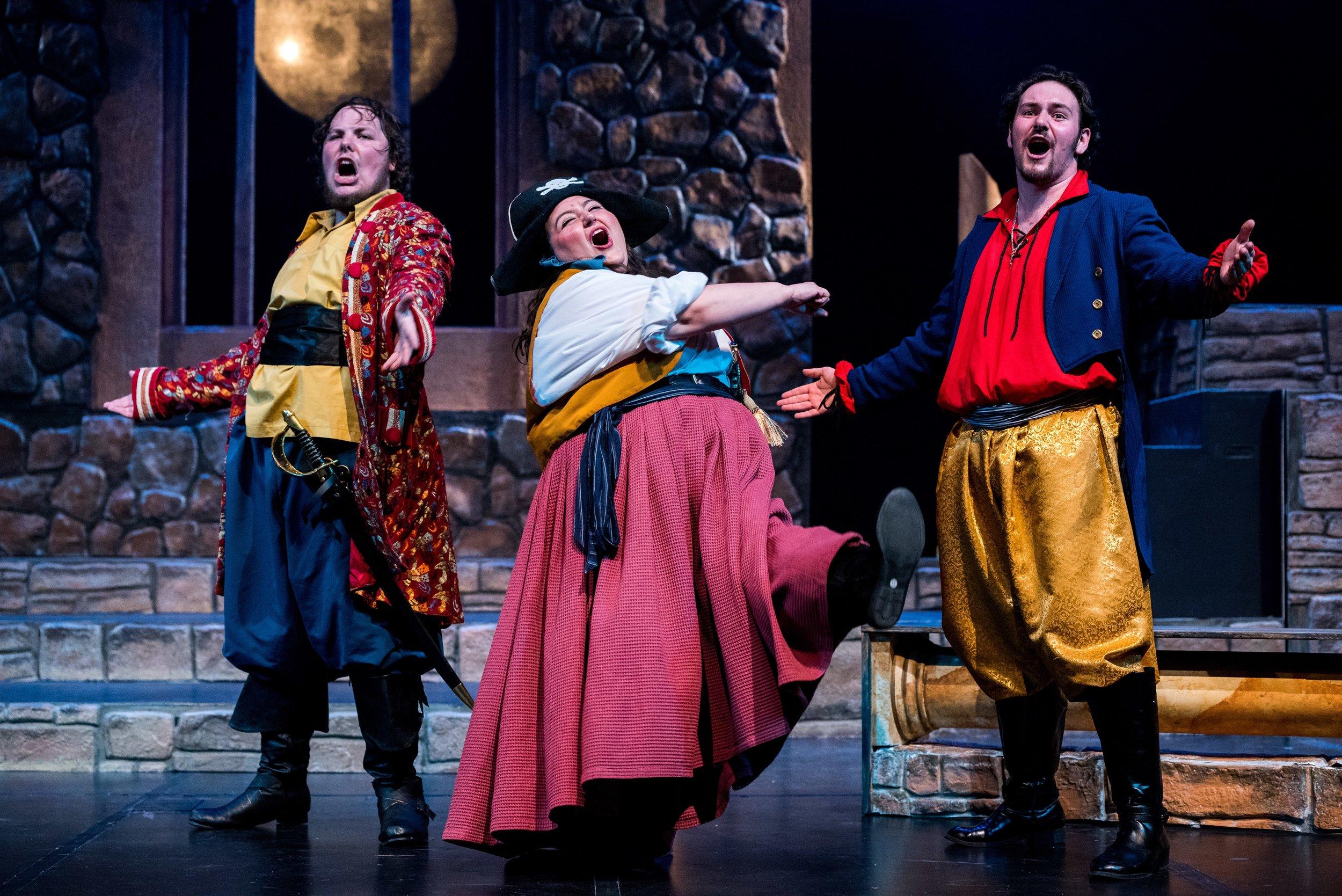 Tiernan Doyle, Bridget Maresca, and Daniel Lopez in  The Pirates of Penzance .