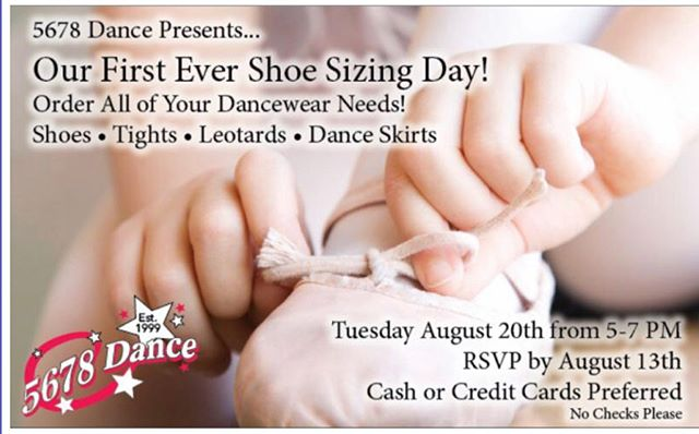Get fitted at 5678 Dance Tuesday, August 20th, from 5-7 PM! Order all of your dancewear needs and have them in time for your first day of class! We will have Bloch and Capezio brands! Leotards! Tights!Exclusive Pricing! RSVP to Ms. Jen ASAP to jlevinedance5678@aol.com ❤️🖤❤️🖤❤️ #5678danceforlife #5678dancefamilyalways #loveourkids #loveourfamilies #loveourstaff #levittown #levittownmoms #dance #tap #jazz #ballet #acro #lyrical #contemporary #hiphop #yoga #kickline #pointe #21yearanniversary #combodance #preschool #nassaucountydance #longislanddance #nationalchampions #perform #confidence #dancewear #danceshoes #dancefriendsmakethebestfriends www.5678Dance.net 516-735-2266 345 Wantagh Ave Levittown, NY 11756