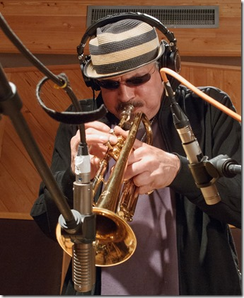 Jerry Gonzalez recording my Bill Dixon Sketch during The Seven Heavenly Virtues session.