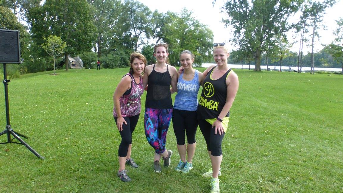 A photo of Joan (another friend & instructor), Susana, Dana, and myself in 2017 when I visited Ottawa to teach an outdoor Zumba class with them. Our first time all teaching together as instructors!