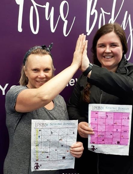 Anita & Kenna, with their completed BINGO cards!
