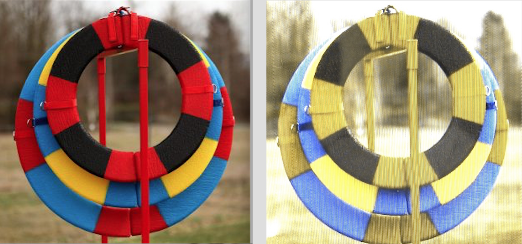 some Popular colour choices for tires on the left. How they are seen by the dogs on the Right. Red/Yellow are very similar to the grass (yellow). The black and blue are easily seen. Black with Blue, or Black with Purple would combine well visually.