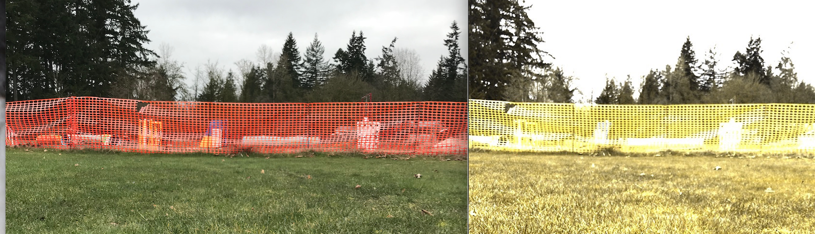 Orange or Green Barrier Fencing blends in with most surfaces. White fencing can make spotting jump depth more difficult.