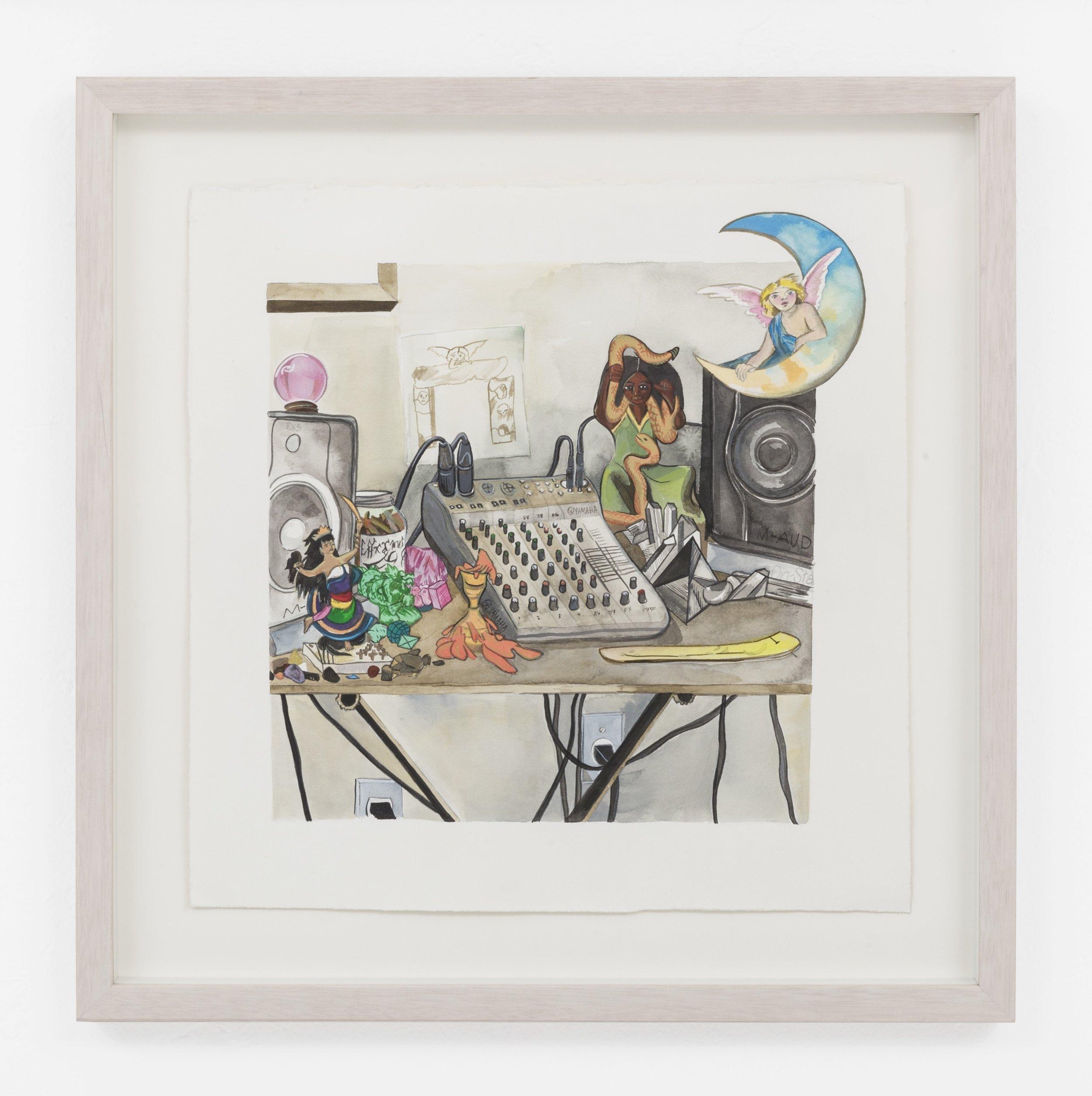 """Radio Show Set Up (Efficacious Grace)"", 2017 Liquid acrylic on paper"