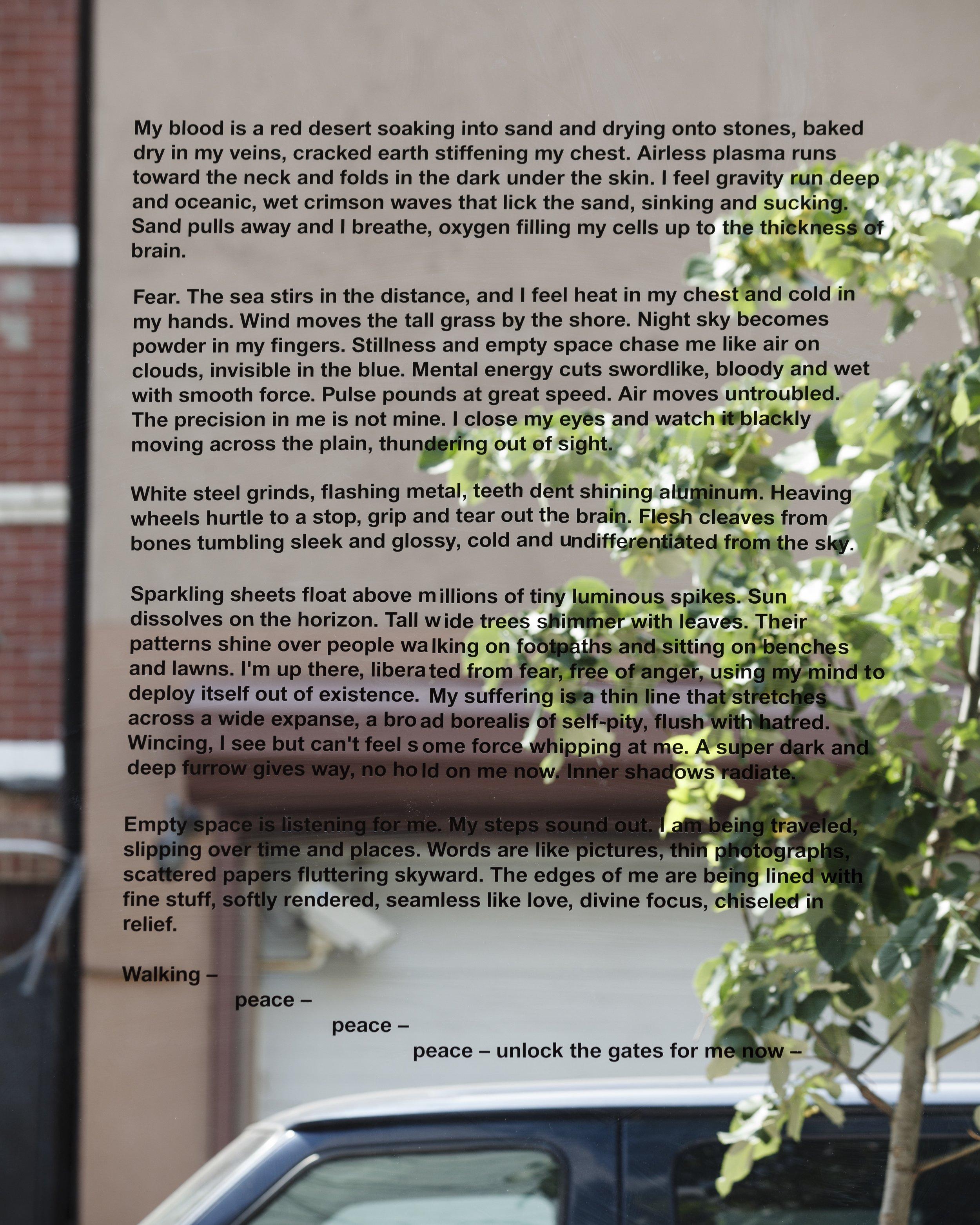 """Unlock The Gates"", 2014 Die cut vinyl letters on window Dimensions variable"