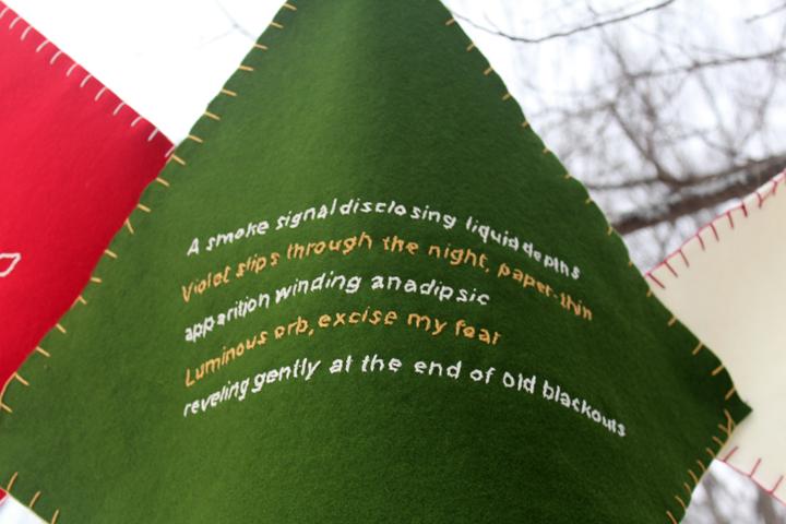 """""""Diamond Poem,"""" 2014 Embroidery on fabric"""