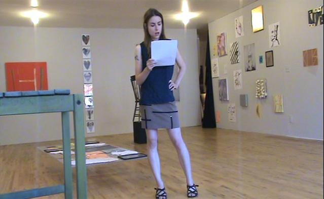 "Performance documentation, Kayla Guthrie reading ""Materialism"" essay"