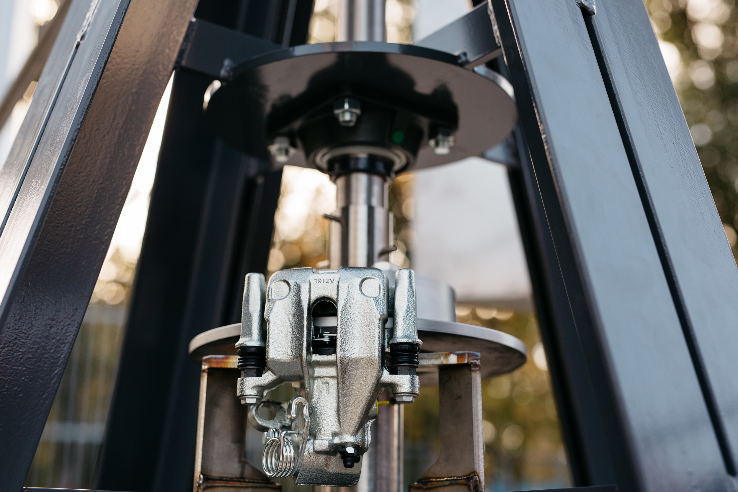 The safety brake.  When installing or adjusting, the rotor has to be stopped.