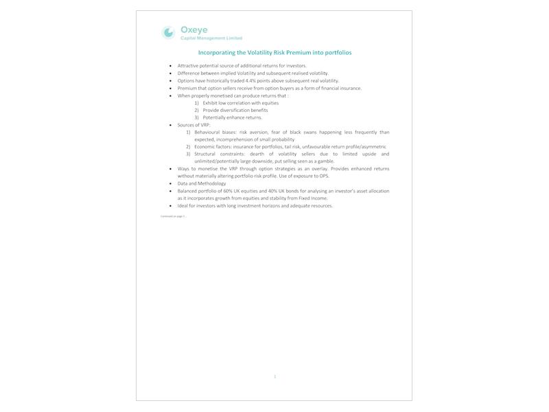 Incorporating the Volatility Risk Premium into Portfolios   December 2016
