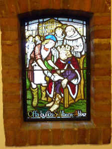 St Alban's stainglass window 1 in Church Foyer